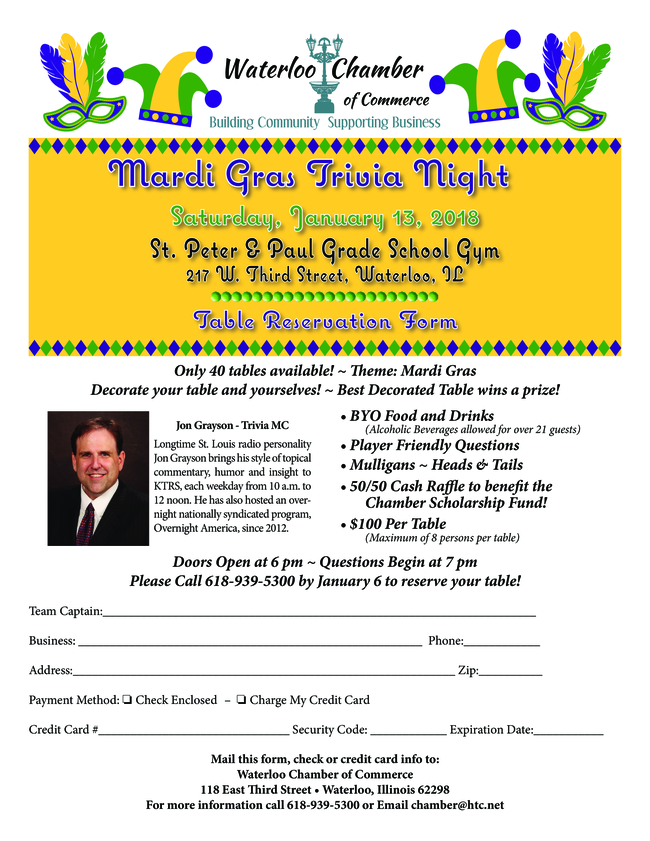 Waterloo Chamber of Commerce Mardi Gras Trivia Night @ St. Peter & Paul Grade School Gym | Waterloo | Illinois | United States