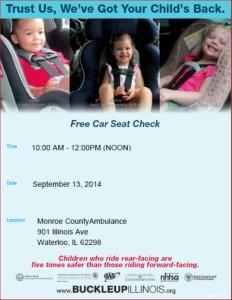 Child Passenger Car Seat Check @ Monroe County Ambulance | Waterloo | Illinois | United States