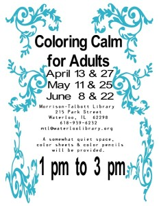 Coloring Calm 2016 @ Morrison Talbott Library | Waterloo | Illinois | United States