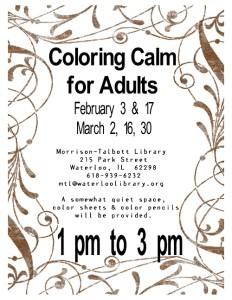 Coloring Calm 2016 @ Morrison-Talbott Library | Waterloo | Illinois | United States
