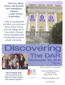 Discovering the DAR @ Morrison-Talbott Library | Waterloo | Illinois | United States