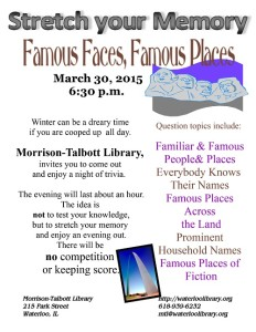 Stretch Your Memory - Famous Faces, Famous Places @ Morrison-Talbott Library | Waterloo | Illinois | United States