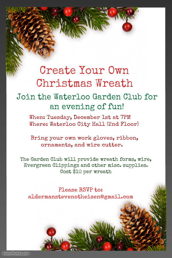 Waterloo garden club s create your own christmas wreath for Garden design your own