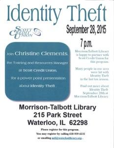 Identity Theft @ Morrison-Talbott Library | Waterloo | Illinois | United States