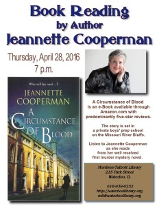 "Jeanette Cooperman Reading ""A Circumstance of Blood"" @ Morrison Talbott Library 