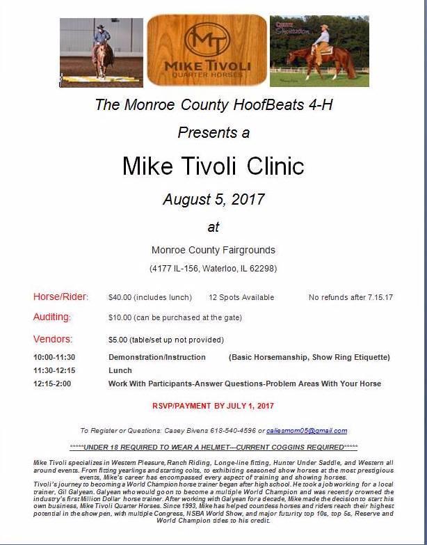 Monroe County HoofBeats 4 H Mike Tivoli Clinic @ Monroe County Fairgrounds | Waterloo | Illinois | United States