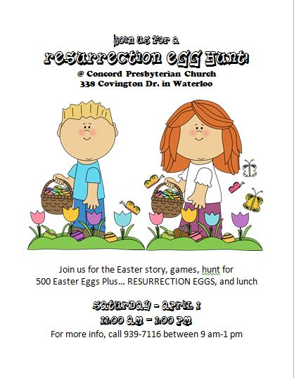 Resurrection Egg Hunt @ Concord Presbyterian Church   Waterloo   Illinois   United States