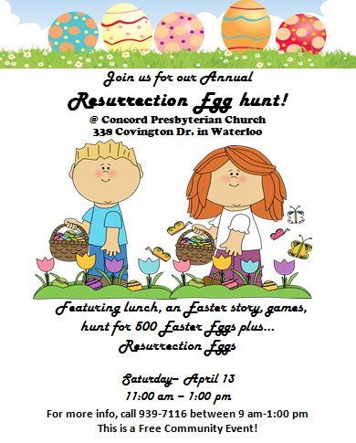 resurrection egg hunt flyer