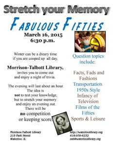 Stretch Your Memory - Fabulous Fifties @ Morrison-Talbott Library | Waterloo | Illinois | United States