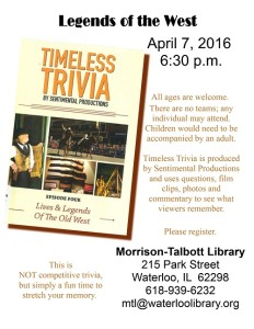 Legends of the West Trivia @ Morrison Talbott Library | Waterloo | Illinois | United States