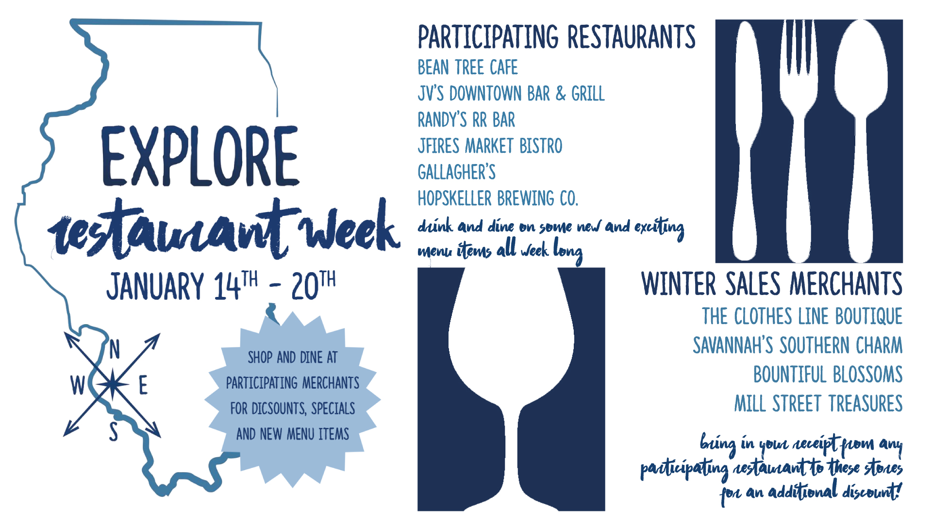 Explore Waterloo Restaurant Week & Winter Sales @ Participating Restaurants and Merchants | Waterloo | Illinois | United States