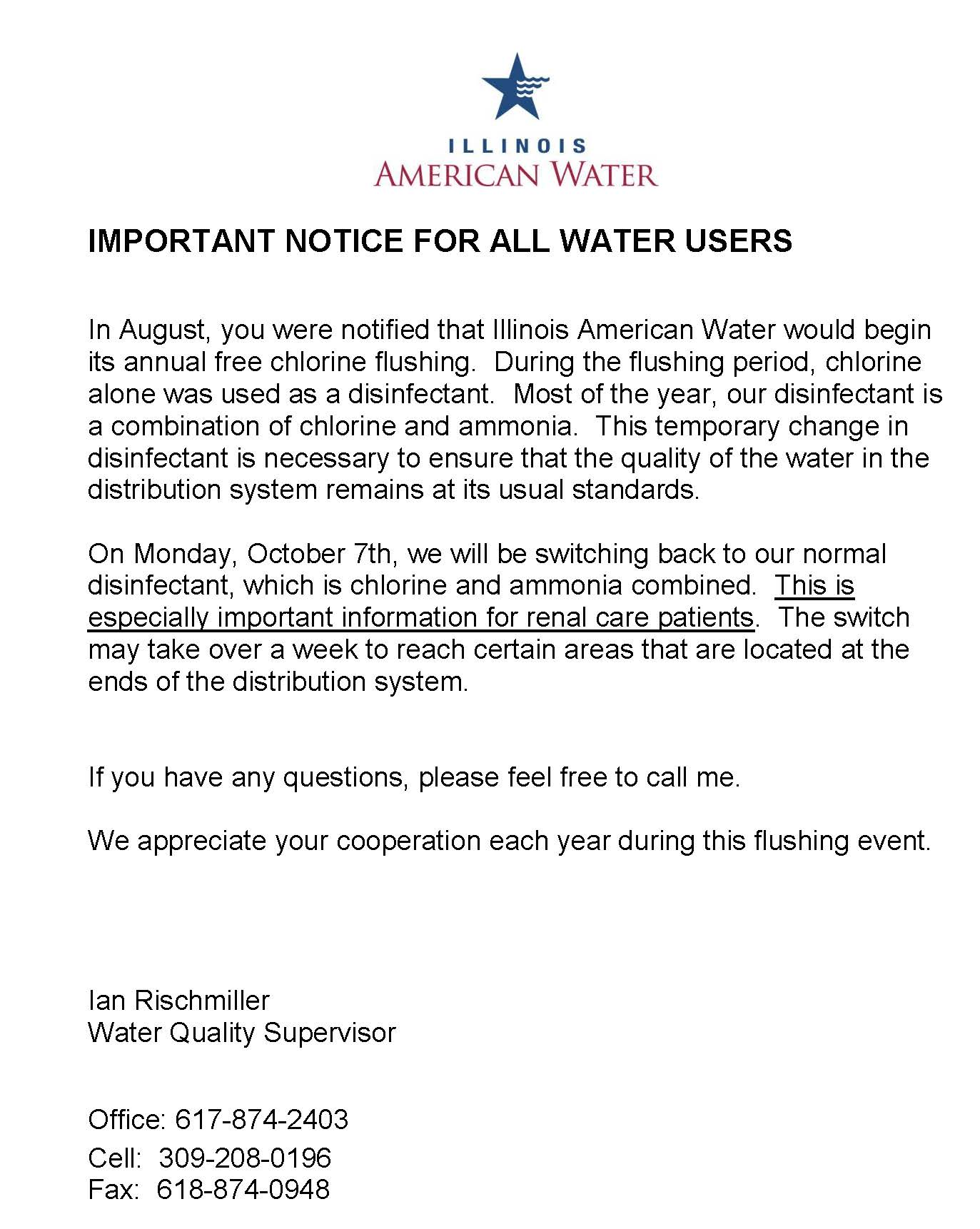 Interurban Treatment Change And Flushing Release 10 2019.word