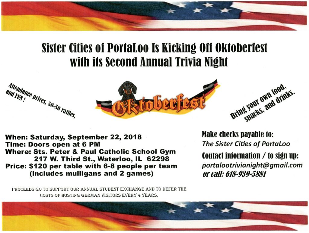 Sister Cities 2nd Annual Trivia Night @ Sts. Peter & Paul Catholic School Gym | Waterloo | Illinois | United States