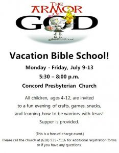 The Armor of God Vacation Bible School @ Concord Presbyterian Church |  |  |