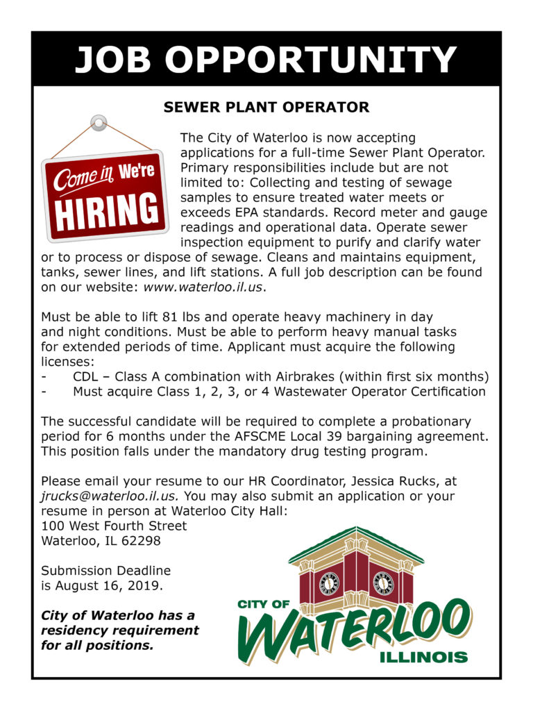 Sewer Plant Operator Ad
